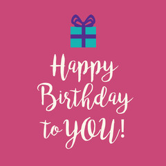 Pink Happy Birthday greeting card with a blue present