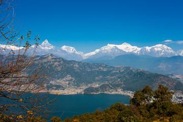 View of Phewa lake and Annapurna mountain  range