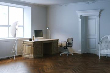 Elegance interior office cabinet with wooden door.