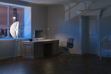 Luxury modern office cabinet in night time.