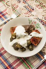 Turkish Dolma with yoghurt.