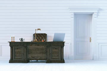 Luxury office cabinet in classic wooden interior.