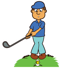 Golfer with Hatching Egg Cartoon Illustration