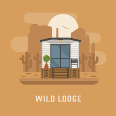 Wild lodge at national park poster. Minimalistic summer house. Modern apartment vector illustration. Scandinavian design home in wilderness area. Europe cabin room exterior. Tourist flophouse image.