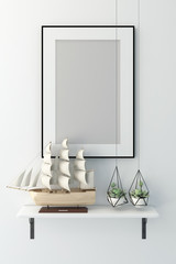 Picture frame in summer concept interior background 3D rendering