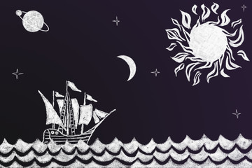 Funny history chalk drawing of Viking ship and stylized compass