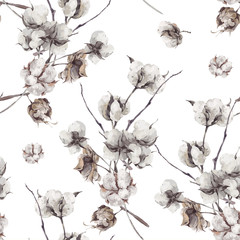 Seamless pattern with twigs and cotton flowers.