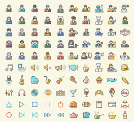 Set of 100 Minimalistic Solid Line Colored People, Professions, Music and Restaurant Icons. Isolated Vector Elements.