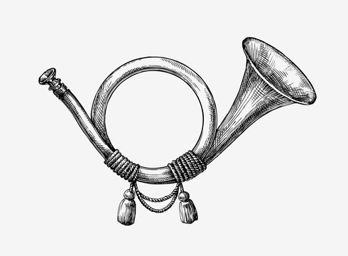 Hand drawn vintage hunting horn. Sketch post . Vector illustration