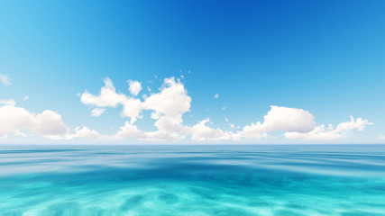 Photo sur Toile Plage Tropical sea sky clouds blue 3D rendering