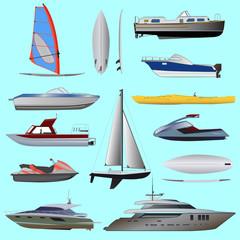 Set of boat. Sailing and motor boats, yacht, jet ski, boat, motor boat, cruise ship, windsurfing. Vector illustrations  isolated on white background