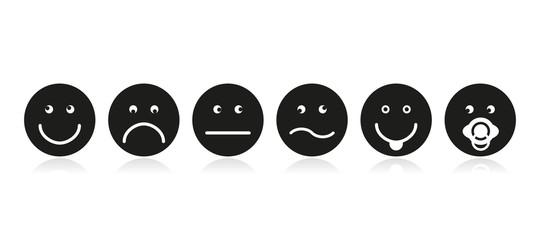 Smileys Icons Emotions black