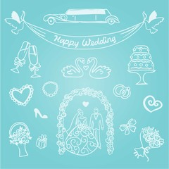 Hand-drawn line art wedding graphics