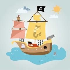 Pirate ship in the ocean