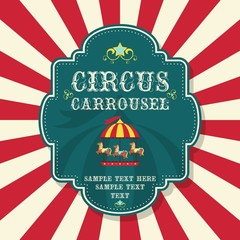 Circus carrousel poster with red sunburst