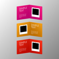 Abstract colorful books with frames. Blank photo for your own artwork. Shiny design vector cards.