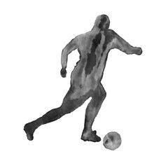 silhouette of a man playing football. footballer. isolated. wate