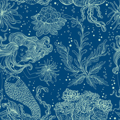 Mermaid, marine plants, corals and seaweed. Vintage seamless pattern with hand drawn marine flora. Vector illustration in line art style.Design for summer beach, decorations.