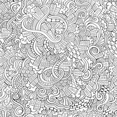 hand drawn town. seamless pattern