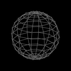 3D Sphere. Molecular lattice. Abstract Globe. Vector outline ill