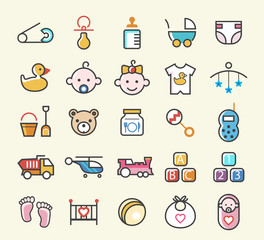 Set of 25 Minimal Solid Colored Baby Icons. Isolated Vector Elements.