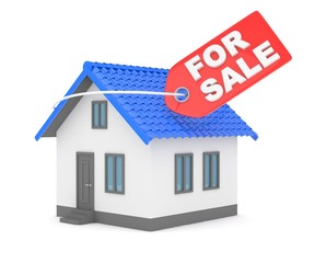 Model of house with label for sale on white background. Concept of real estate sale. 3D rendering.