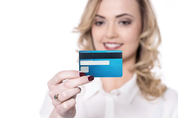 Business lady holding debit card