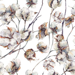 Watercolor  seamless pattern with twigs and cotton flowers.