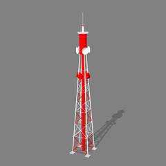 3d Radio Tower.Isolated on gray  background.