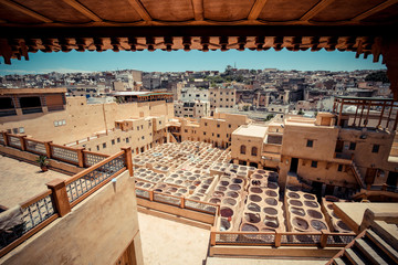 The oldest tannery in Morocco, in the medina of Fes (Fez) City