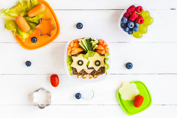 School lunch box for kids. Top view, flat lay