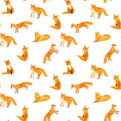 Fox seamless pattern.Watercolor hand drawn illustration.White background.