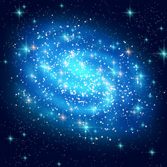 Blue Spiral Galaxy with Shining Stars