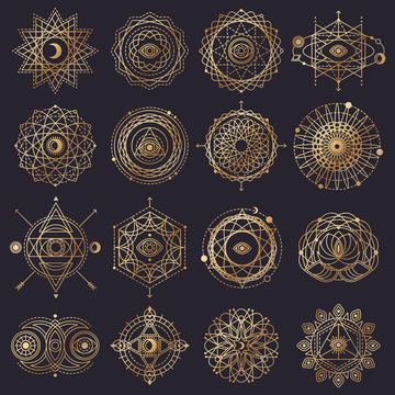 Sacred Geometry Forms with Eye, Moon and Sun