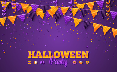 Halloween Carnival Background with Flags Garlands