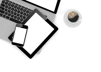 Laptop, phone, tablet pc and coffee. 3d rendering.