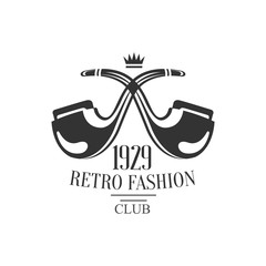 Gentleman Club Label Design With Crossed Pipes