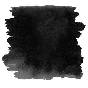 ..Black  color watercolor stain isolated over white. Watercolour