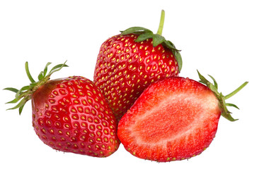 Three strawberries close-up isolated on white