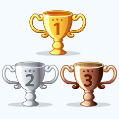Colorful rewards, goblet - gold, silver and bronze