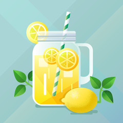 Lemonade illustration with lemon and ice, flat design