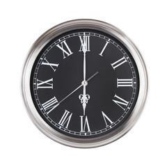 Six o'clock on the round clock