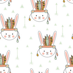 indian seamless pattern of bunny