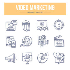 Video Marketing Doodle Icons