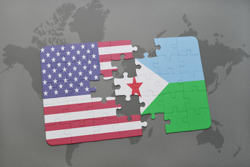 puzzle with the national flag of united states of america and djibouti on a world map background.