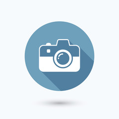 Camera flat icon with long shadow. Isolated on white background. Vector illustration, eps 10.