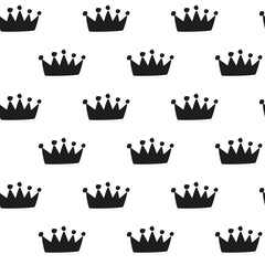 Hand drawn crown - seamless pattern - 116612759