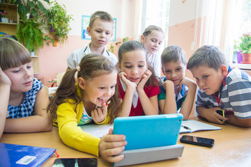 kids in scholl at  tablet