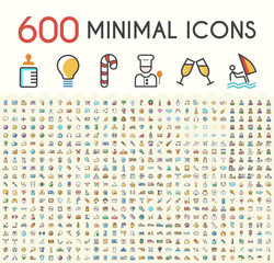 Set of 600 Solid Line Colored Multimedia, SEO, Business, Ecology, Education, Shopping, Transport, Home Appliances, Medical, Fitness and Sport, Beach, Baby, Veterinary, Christmas and Casino Icons.