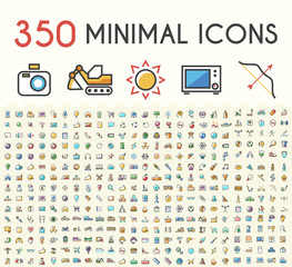 Set of 350 Minimalistic Solid Line Colored Multimedia, SEO, Business, Ecology, Education, Shopping, Transport, Home Appliances, Medical, Fitness and Sport Icons. Isolated Vector Elements.